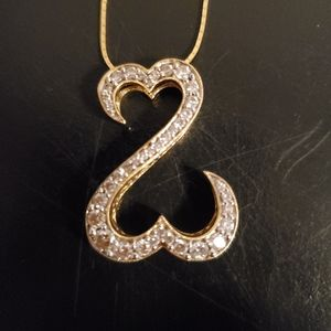 Jane Seymour 1 ct  yellow gold open heart necklace
